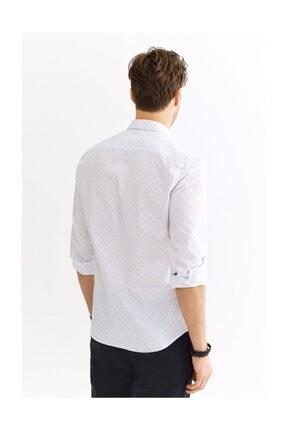 Avva Erkek Beyaz Baskılı Alttan Britli Yaka Slim Fit Gömlek A01s2235 2