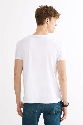 Avva Erkek Beyaz Bisiklet Yaka Baskılı T-shirt A01y1020 2