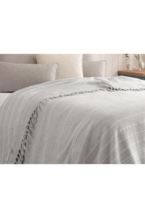 Madame Coco Alegron King Size Yıkamalı Yatak Örtüsü - Gri / Beyaz 2