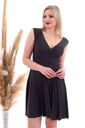 Cotton Mood 20070781 Örme Krep Eteği Pliseli Kruvaze Yaka Kolsuz Elbise Hakı 2