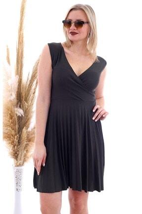 Cotton Mood 20070781 Örme Krep Eteği Pliseli Kruvaze Yaka Kolsuz Elbise Hakı 4