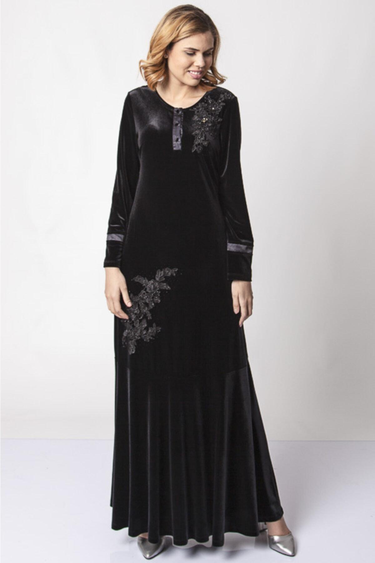 Güzey Önü Düğmeli Dantel Işlemeli Kadife Elbise - Siyah