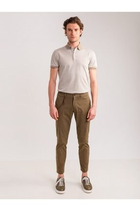 Dufy Haki Aksesuar Detaylı Armür Pamuklu Likra Erkek Pantolon - Modern Fit 0