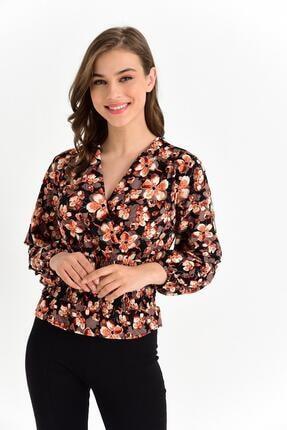 Tena Moda Kadın Oranj Örme Crep Gipeli Bluz 1