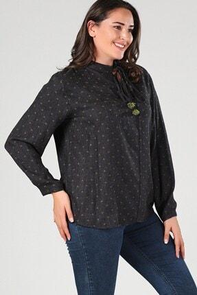 Womenice Büyük Beden Yeşil Yaka Bağlamalı Nokta Detaylı Bluz 1