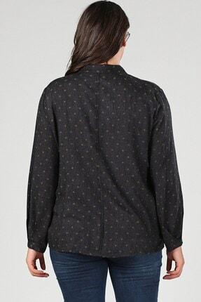Womenice Büyük Beden Yeşil Yaka Bağlamalı Nokta Detaylı Bluz 2