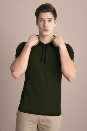 Tena Moda Erkek Haki Kapüşonlu Düz Tişört 1