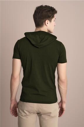 Tena Moda Erkek Haki Kapüşonlu Düz Tişört 3
