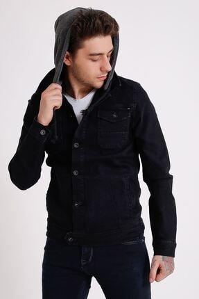 تصویر از Erkek Çıkarılabilir Kapüşonlu Yıkamalı Siyah Kot Ceket