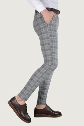 Terapi Men Erkek Ekoseli Slim Fit Keten Pantolon 20k-2200244 Füme 2