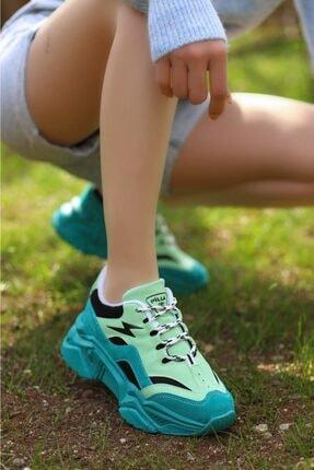 Madam Tarz Kadın Yeşil Siyah Bağlı Kalın Taban Sneaker 1