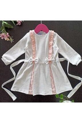 Dolly Baby Kız Çocuk Beyaz Ve Pembe Desenli Elbise 1