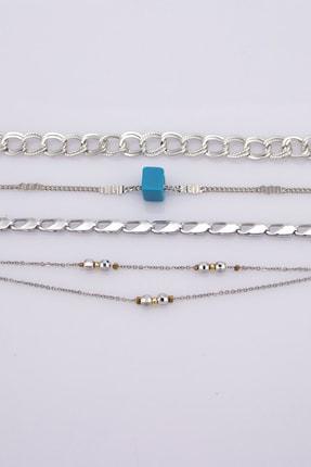 Sortie Aksesuar Kadın Gümüş Mavi Boncuklu Kombin Bileklik 4'lü 004 1