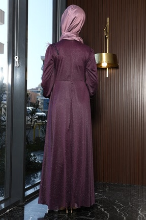 Julude Kadın Mor Dantel Tüylü Simli Abiye Elbise 3