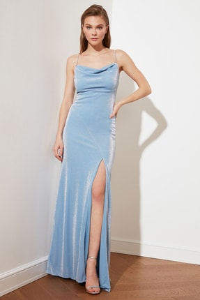 TRENDYOLMİLLA Mavi Askı Detaylı Abiye & Mezuniyet Elbisesi TPRSS19UT0102 1