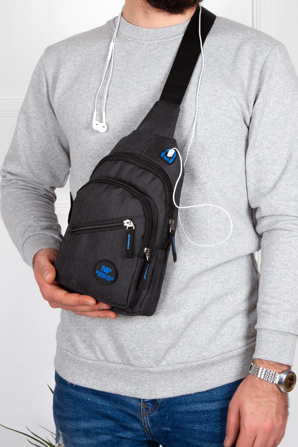 Kulaklık Çıkışlı Tek Kol Göğüs Çantası Günlük Mini Sırt Çanta