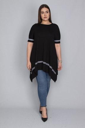 Şans Kadın Siyah Şerit Detaylı Asimertik Tunik 65N23133 3