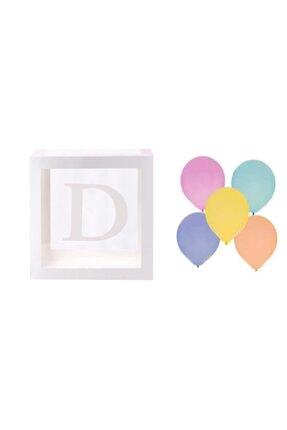 Patladı Gitti Şeffaf D Harfli Beyaz Kutu Ve Balon Seti 0