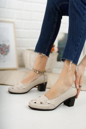 Diego Carlotti Hakiki Deri Bej Kadın Topuklu Günlük Klasik Ayakkabı 2