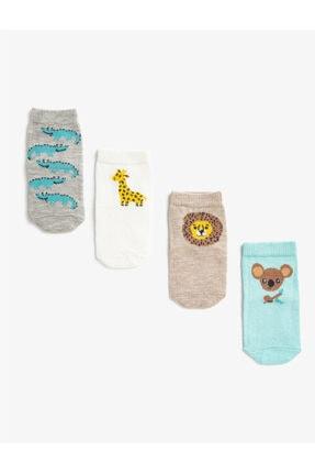 Koton Erkek Bebek Ekru Hayvan Desenli Pamuklu Çorap Set 0