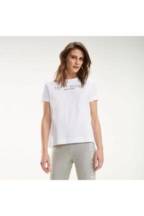 Tommy Hilfiger Kadın Beyaz New York Print Logo Women T- Shirt 1