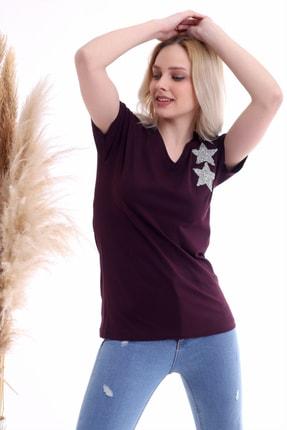Cotton Mood Kadın Mürdüm Göğsü Yıldız Taşlı Kısa Kol V Yaka Bluz 1