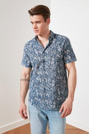 TRENDYOL MAN Lacivert Erkek Regular Fit Gömlek Yaka Tropik Baskılı  Gömlek TMNSS21GO0709 3