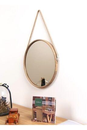 Fold&Go Capella Ayna - Halat Askılı Ayna - Dekoratif Ayna - Yuvarlak Ayna - Ahşap Çerçeveli Ayna -gümüş Ayna 4
