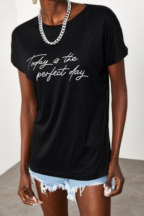 Xena Kadın Siyah Yumuşak Dokulu Esnek Örme Baskılı T-Shirt 1KZK1-11560-02 2