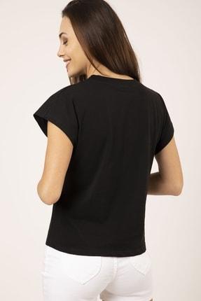 MD trend Kadın Siyah Pamuklu Kısa Kollu Basic T-shirt 3