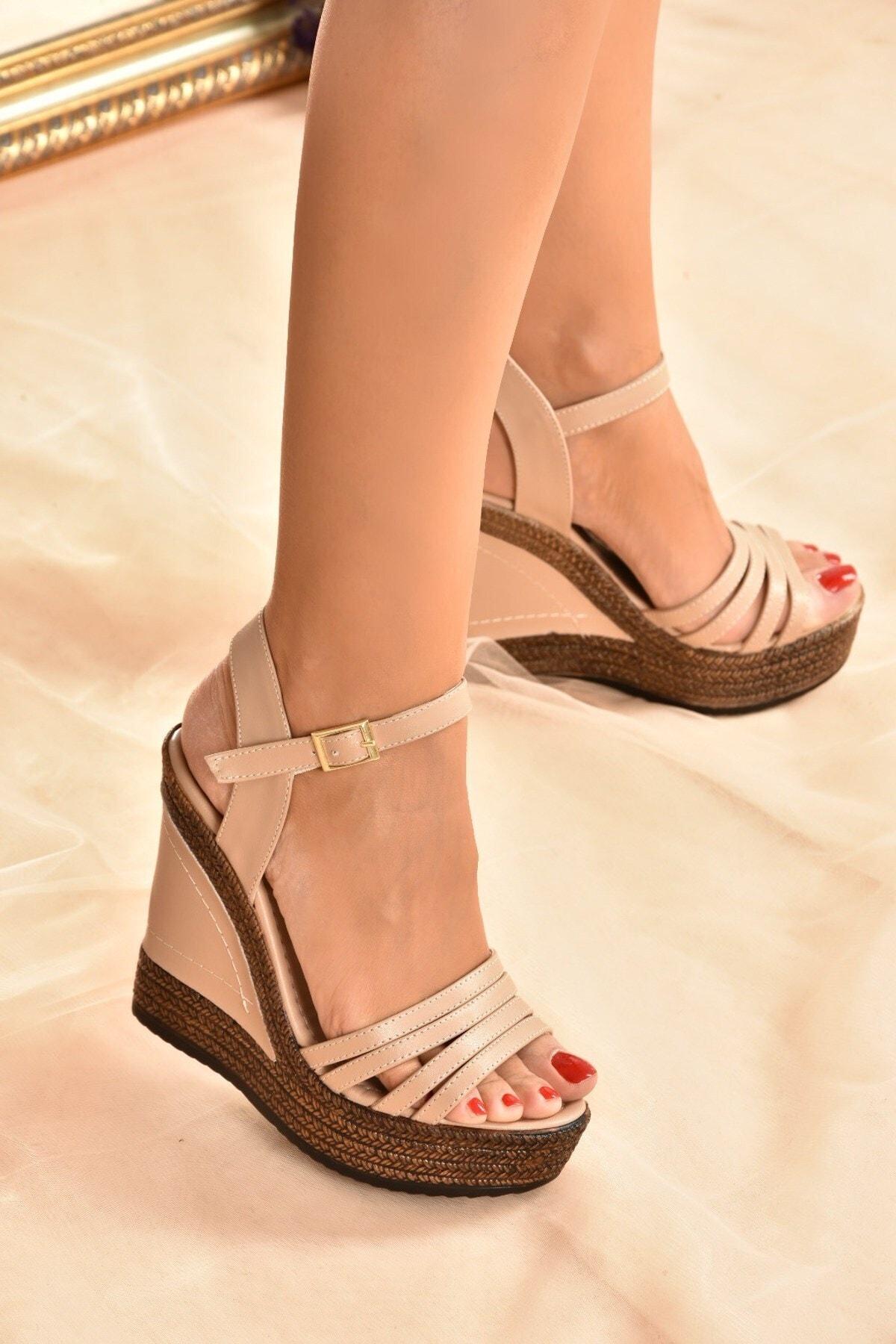 Kadın Ten Yüksek Dolgu Topuklu Ayakkabı