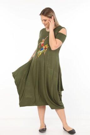 Womenice Kadın Haki Önü Baskılı Büyük Beden Elbise 2