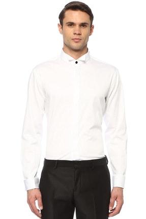 Erkek Beyaz Ata Yaka Smokin Gömleği 1075077