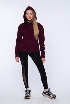 Mlike Fashion Kanguru Cepli Bordo Kapşonlu Kadın Sweatshirt 2