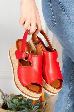 derithy Kadın Kırmızı Topuklu Sandalet7600 2