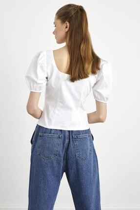 adL Kadın Beyaz  Balon Kol Poplin Bluz 4