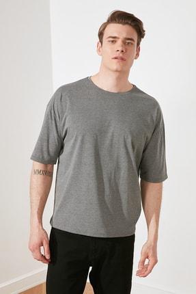 TRENDYOL MAN Antrasit Basic Erkek Bisiklet Yaka Oversize Kısa Kollu T-Shirt TMNSS21TS0811 1