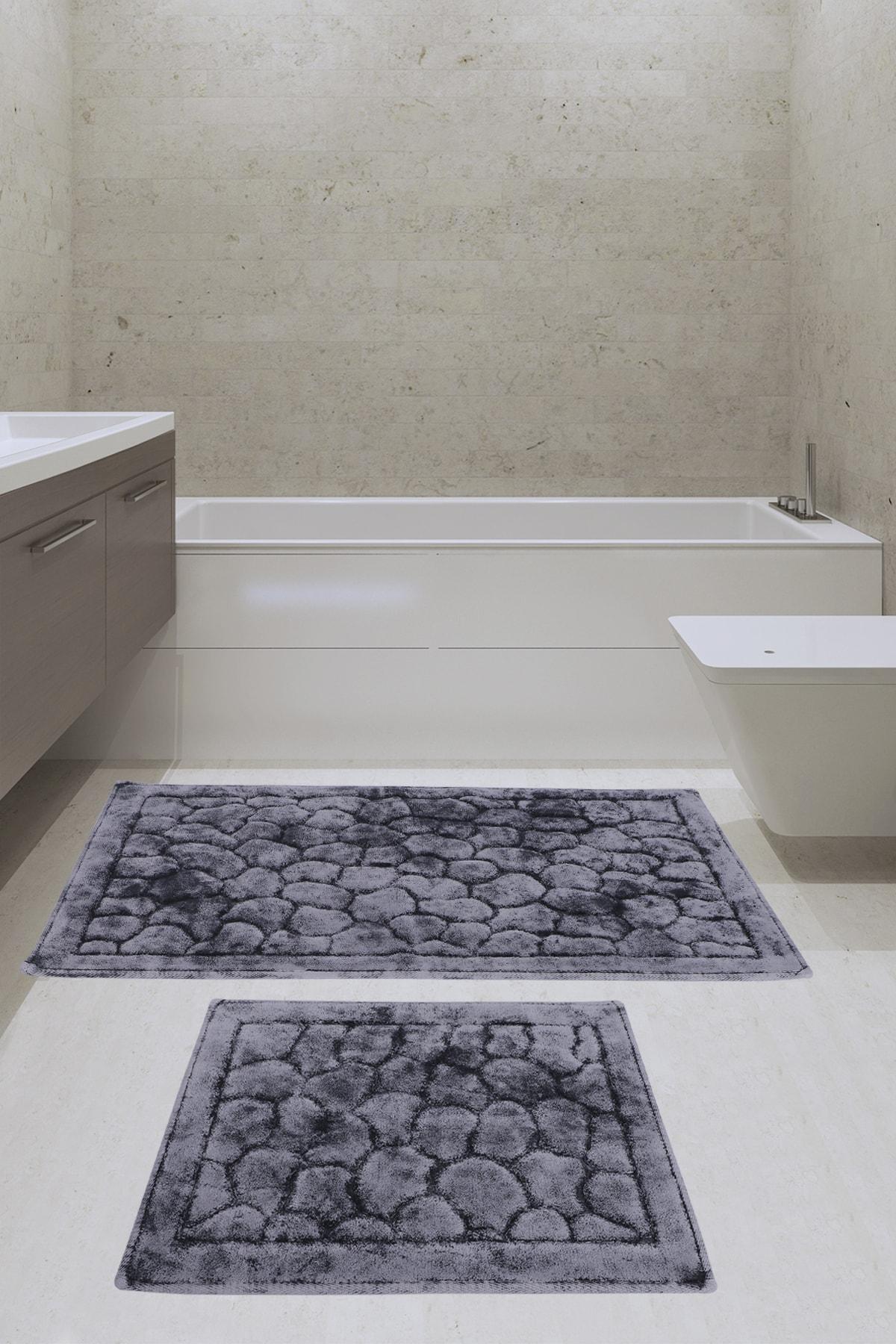 Noble Trade Taş Antrasit 2'li Set Banyo Halısı Paspas Seti 60x100 + 50x60 Cm