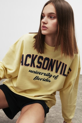 GRIMELANGE RAMONA Kadın Sarı Önü Baskılı Sweatshirt 4