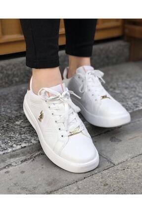 US Polo Assn EXXY Beyaz Kadın Havuz Taban Sneaker 100606373 1