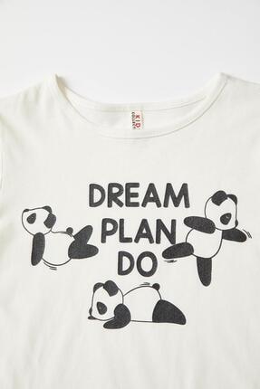 Defacto Kız Çocuk Panda Baskılı Kısa Kollu Tişört 2