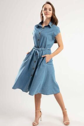 Pattaya Kadın Kuşaklı Kısa Kollu Kloş Gömlek Elbise Y20s110-1677 2