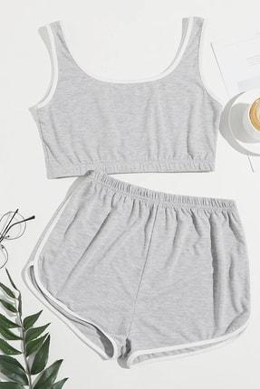 Imoda Kadın Gri Askılı Pamuklu Pijama Takımı 0