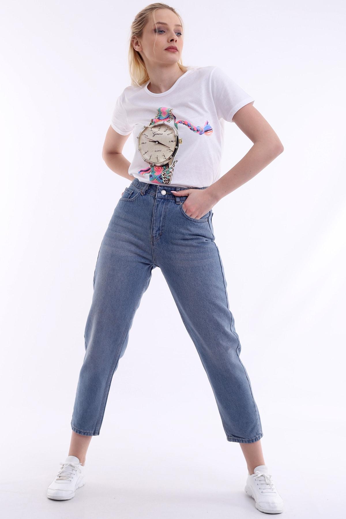 Özel Tasarım, Yüksek Bel, Rahat Kesim, Mom Kot Pantolon