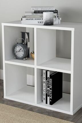 Sanal Mobilya Cube 4 Raflı Kitaplık Medıum Mat Beyaz 1