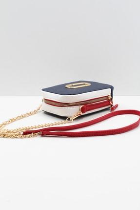 roma italy Kadın Lacivert Kırmızı Beyaz Iki Gözlü Omuz Çapraz Mini Çanta 3
