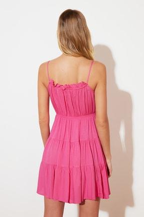 TRENDYOLMİLLA Fuşya Bağlama Detaylı Büzgülü Elbise TWOSS20EL2679 3
