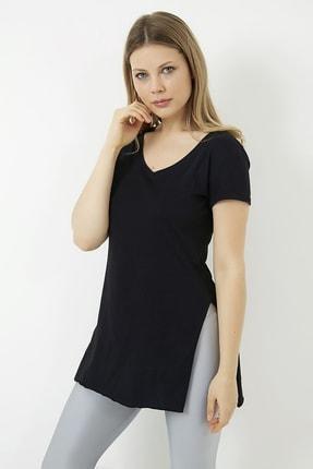 Vis a Vis Kadın Siyah V Yaka Yırtmaçlı Uzun Tshirt 4