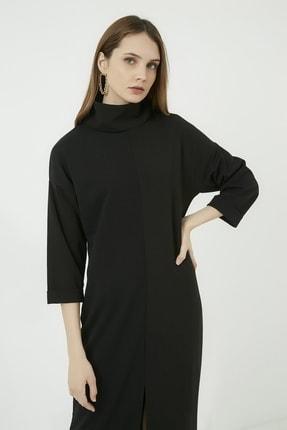 Vis a Vis Kadın Siyah Yırtmaçlı Salaş Boğazlı Elbise 1