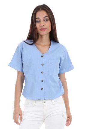 Bigdart 0358 Tek Cep Düğmeli Kısa Kol Bluz 2